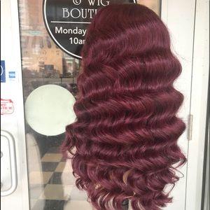 Accessories - Wig Burgundy Deep Wave 6X6 Freepart Lacefront 2019